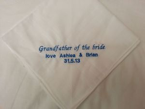 PERSONALISED EMBROIDERED HANKIE - Personalise the Hankie With a Message of Your Choice - Father of the Bride
